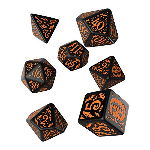 Q-Workshop HAP69 - Halloween Pumpkin Black & orange Dice Set (7)