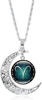 Cuekondy 12 Constellation Astrology Galaxy & Moon Pendant Necklace Vintage Silver Hollow Moon Horoscope Zodiac Necklace