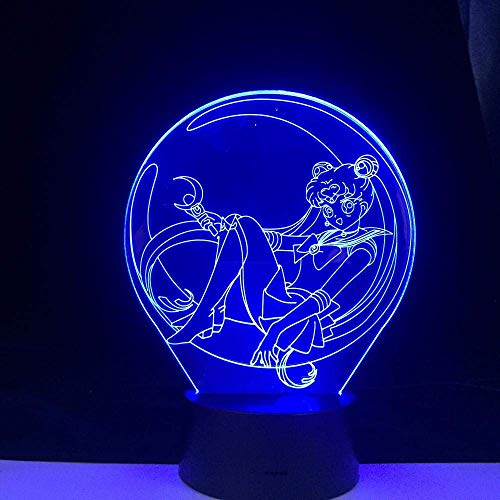 3D Illusionslicht Sailor Moon Anime Light 3D LED Lampe 16 Farben Wechselndes Nachtlicht Cooles Mädchen Kinderzimmer (mit Fernbedienung)