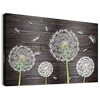 White Dandelion Flower Canvas Wall Art for Bedroom Bathroom Decorations kitchen Wall Decor Framed Canvas prints Artwork Farmhouse Vintage Wood grain background Pictures Home Decoration-20x28 inches