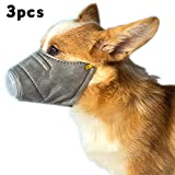 3 Pezzi Maschera per Cane, PM2.5 Anti Nebbia Polvere Maschera Regolabile, Museruole Protettive Riutilizzabili per Animali Domestici,Gray,S