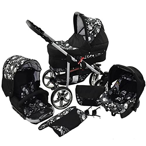 Cochecito de bebe 3 en 1 2 en 1 Trio Isofix silla de paseo X-Car Rock by SaintBaby negro & cráneo 4in1 con Isofix + Silla