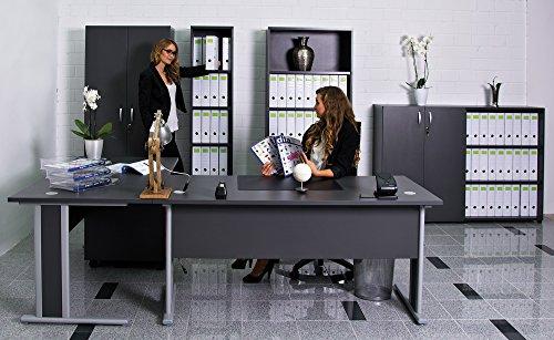 Dila GmbH Komplettbüro in Anthrazit Büromöbel Büroeinrichtung Büro Standregal Aktenschrank Schreibtisch Arbeitszimmer
