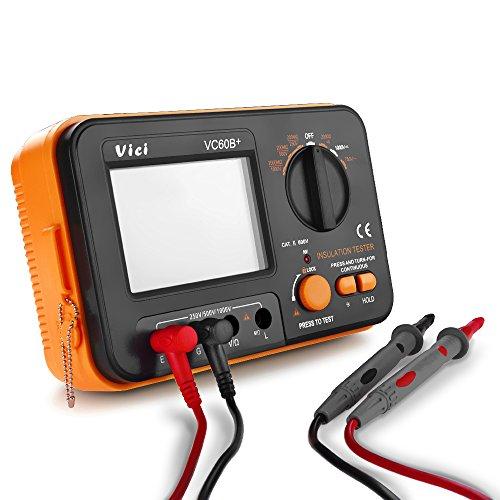 Flexzion Digital Insulation Resistance MegOhmmeter VICHY VC60B+ Tester MegOhm MegOhmmeter Voltmeter Meter DC 250V 500V 1000V with LCD Display 2 Clip Cables Shoulder Strap Battery Powered