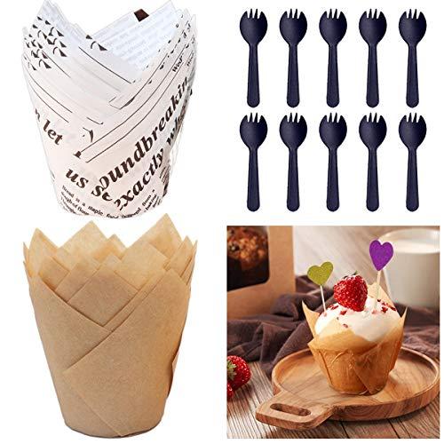 100 Stück Tulpenförmchen für Cupcakes,Tulpen Muffinförmchen mit fettdichtem Papier,Tulpe Cupcake Liner, Muffin Backförmchen, Cupcake-Einlagen,Backbecher Papier für Hochzeit, Geburtstag, Party (Papier)