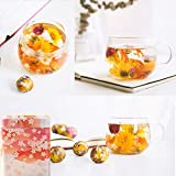 10 Assorted Flowering Tea Balls Art Flowers | Teabloom Blooming Flowers Herbal Tea Balls Gift Set | Natural Organic Tea Blossoms Individually Wrapped Benefit for Women Beauty