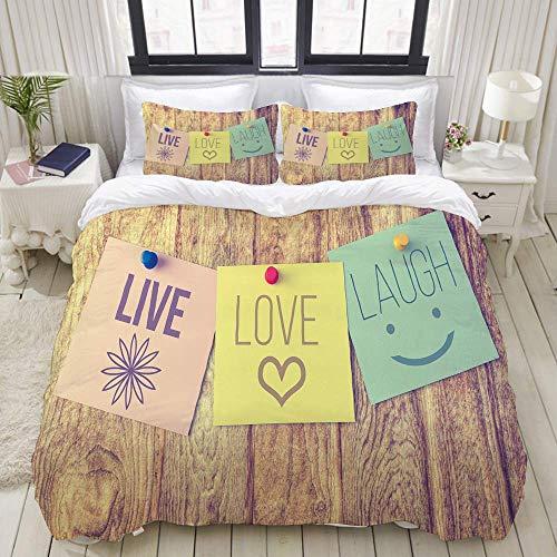 993 CCOVN Bettwäsche-Set Motiv, Motiv Live Laugh Love, niedlicher Retro-Druck, 3-teiliges Bettwäsche-Set mit 2 Kissenbezügen, insgesamt DREI Größen, Color8, Twin Size