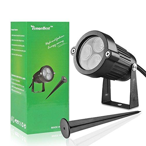 LED-Rasen-Garten-Flut-Licht,ABEDOE Yard-Patio-Weg-Scheinwerfer-Lampe wasserdichtes Garten-Rasen-Licht DCs 12V 3 * 3W (Warmes Licht)