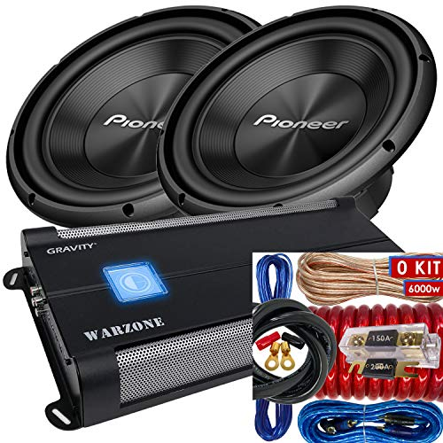 """Pair of Pioneer TS-A300D4 12"""" Dual 4 Ohms Voice Coil Subwoofer - 1500 Watts (2 Subwoofer) + 6000 Watts Monoblock Amplifier + 0 Gauge Installation Kit Included (TS-A300D4(2)+WZ6000.1D+BCC0R)"""
