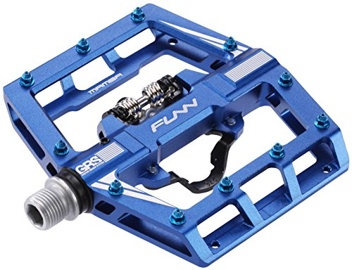Mamba Mountain Bike Clipless Pedal Set - Single Side Clip Wide Platform MTB Pedals, SPD Compatible, 9/16-inch CrMo Axle (Blue)