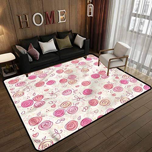 Blush Fashion Color Bedroom Livingroom Sitting-Room Doodle Style Rosebuds Hearts 4 x 6 Feet