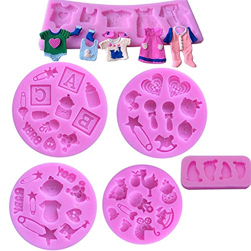 Cute Baby Silicone Fondant Cake Mold Kitchen Baking Mold Cake Decorating Moulds Modeling Tools?Gummy Sugar Chocolate Candy Cupcake Mold(6 PACK)