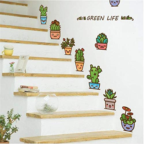 Grüne Topf Emoji Baum selbstklebende Dekor DIY Aufkleber für Treppen Boden Fenster Küche Wandaufkleber