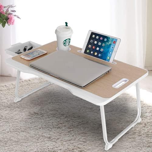 Astory Escritorio para portátil con cajón, portátil, bandeja para cama, portátil, soporte para lectura, asa cómoda y patas plegables y ranura para tazas, para cama/sofá/suelo (beige)