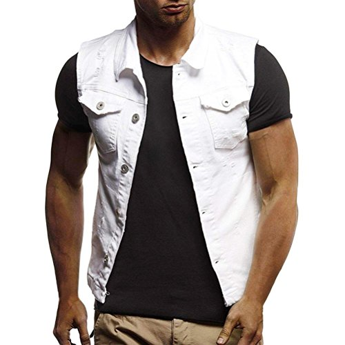 WUAI Clearance Men's Sleeveless Fashion Lapel Vintage Jeans Vest Motorcycle Jacket Waistcoat(White,US Size 2XL = Tag 3XL)