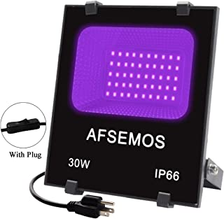 AFSEMOS 30W Black Lights,IP66 Waterproof LED Black Lamp with Plug and Switch (100-240V AC),for Halloween,Black Light Party,Neon Glow, Glow Tapes Dance Party,Body Paint