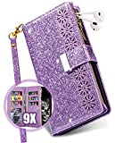 Vodico iPhone XR Wallet Case for Women/Girl with Card Holder, Cute Girly Flip Folio Glitter Sparkly Bling Leather Folding Phone Purse Zipper Pocket Magnetic Full Body Stand Cover with Strap (Purple)