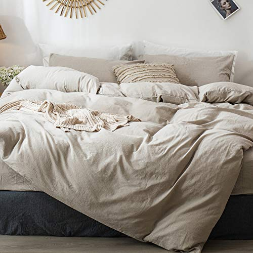 MooMee Bedding Duvet Cover Set (1 Comforter Cover + 2 Pillow Shams) 100% Washed Cotton Linen Like Textured Breathable Durable Soft Comfy (Linen Grey, Queen)