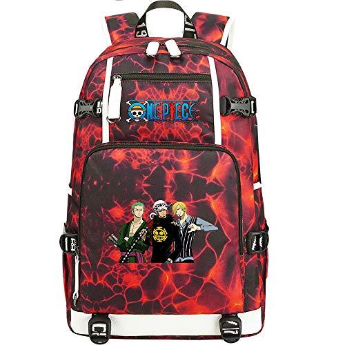 ZZGOO-LL One Piece Monkey·D·Luffy/Vinsmoke Sanji/Portgas·D· Ace Anime Cosplay Bookbag College Bag Mochila Mochila Escolar con Puerto de Carga USB-E