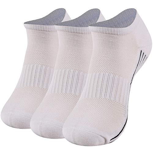 Bamboo Low Cut Socks Women, Sunew Premium Super Comfortable Moisture Wicking Ankle Bamboo Socks for Sweaty Feet,Anti Slip Cushioned Sole Heel Summer Breathable Running Socks White 3 Pairs S