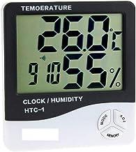 NA YAJJA Temperatura Termómetro higrómetro Digital Medidor de Humedad Relativa Interior higrómetro termómetro con el Reloj Calendario Alarma de luz de Fondo