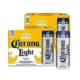 Cerveza Clara Corona Light lata de 2 12 pack de 355ml c/u total 24 latas (El empaque puede variar)
