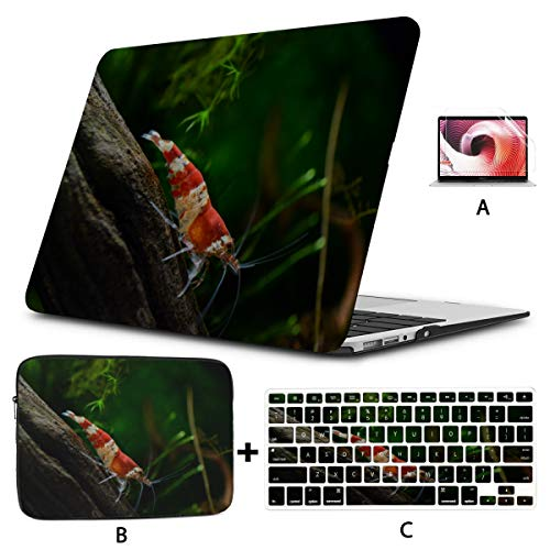 Mac Book Pro Cover Crystal Red Shrimp Standing On Aquatic Moss Mac Book Air Covers Hard Shell Mac Air 11'/13' Pro 13'/15'/16' With Notebook Sleeve Bag For Macbook 2008-2020 Version