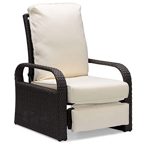 Brown Outdoor Wicker Recliner