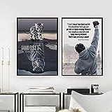 PLWCVERS Carteles de Citas de Boxeo en Blanco y Negro Impresiones Mentality Cat Wall Art Pictures Decoración de Sala de Estar Motivacional / 40x60cmx2 (sin Marco)