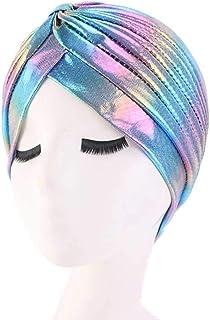 MJBSH Bandanas Women Stretchy Turban Hat Headband Warp Female Chemo Hijab Knotted Indian Cap Adult Head Wrap for Women (Co...