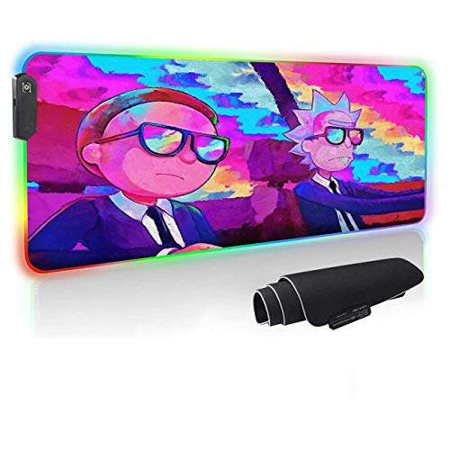 RGB Anime Mouse Pad Run the Jewels,12 Lighting Modes Computer Keyboard And Mice Combo Pads,Large Gaming Mousepad With Non-Slip Rubber Base & Waterproof,4mm Thick Laptop Glowing Desk Mat 31.5X11.8 inch