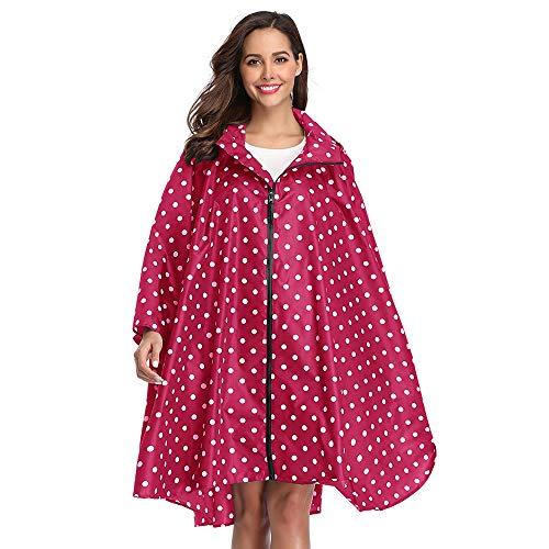 Summer Mae Regen Poncho Jacke Mantel für Erwachsene mit Kapuze wasserdicht mit Reißverschluss im Freien,Einheitsgröße,Rosa Punkt-1
