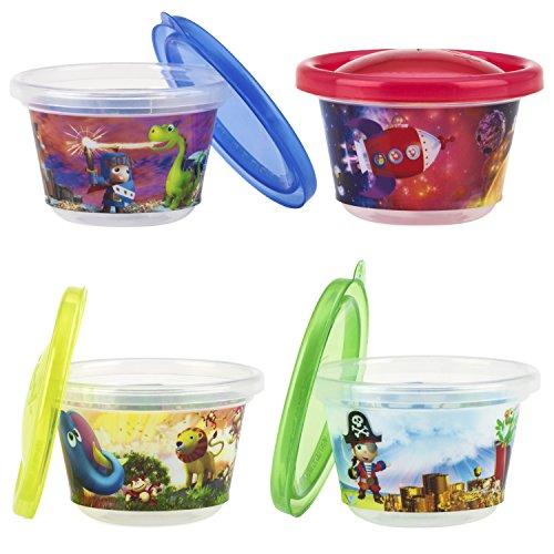 Nûby ID94044 Set de 4 Pots pour Encas, Multicolore, 120 ml, 3+ Mois