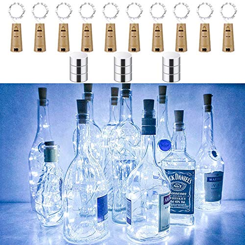 LiyuanQ 10 Pack Bottle Lights Cork Shaped Micro 15 LED String Lights Battery Operated Wine Lights Silver Wire Fairy Mini DIY Light for Party Xmas Wedding Table Décor (Cool White+ Extra 9 Battery)