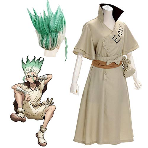 CHANGL Anime Dr. Stone Senku Ishigami Kostüm Cosplay Erwachsene Männer Senku Uniform Outfit Perücke Halloween Karneval Party Anzug Komplettset