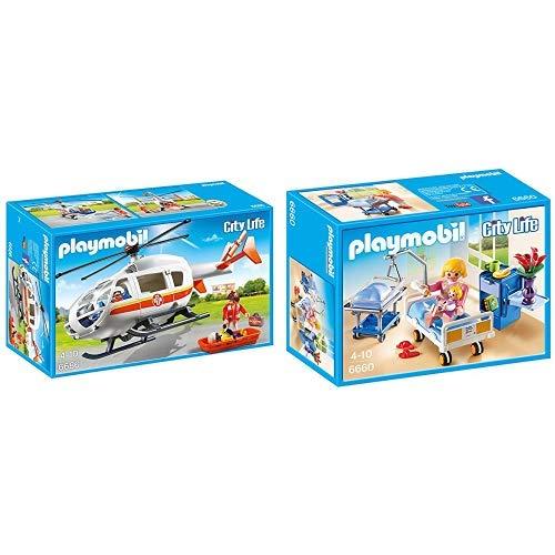 Playmobil 6686 - Rettungshelikopter &  6660 - Krankenzimmer mit Babybett