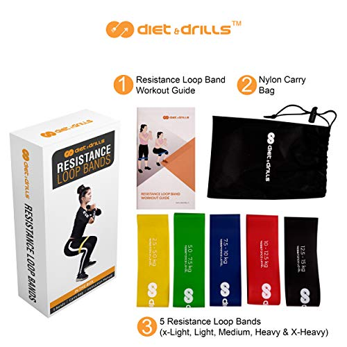 diet & drills® Resistance Loop Bands Designed for India with Resistance Levels from 2.5 to 15.0 kgs. Best Resistance Bands for Women & Men. Buy Resistance Band Set of 5