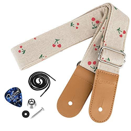 Dulphee Ukulele Strap Cotton Linen Adjustable Uke Shoulder Strap with 1 Pick and 1 Button for All Ukulele, Mandolin and Banjo(Cherry)