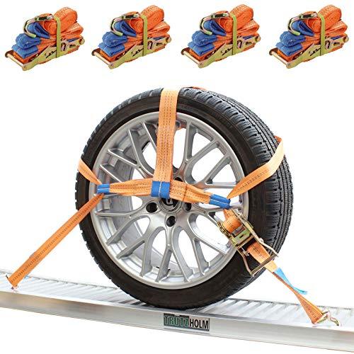 Trutzholm 4x Spanngurte Autotransport Zurrgurt Radsicherung PKW KFZ Trailer Anhänger Verzurrsystem Radsicherung