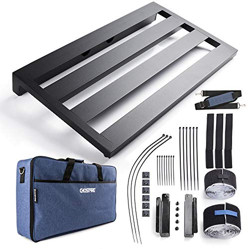 Vangoa Aluminum Guitar Pedal Board Large, 22' x 12.6' x 2.36' with Carry Bag and Power Supply Mounting Brackets