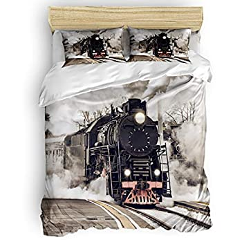 Yogaly Home Bedding Set 4 Pieces Full Size for Adults/Teens/Children/Baby Old Steam Train Printed Bed Sheets Duvet Cover Flat Sheet Pillow Covers