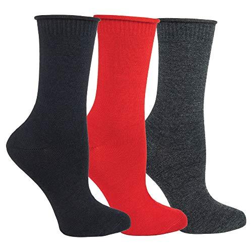Ozone |3er Set Damen Socken |Wolle/Seide Collection |Unisize |Geschenkset | Komfort & Stil in Schwarz, Rot und Anthrazit