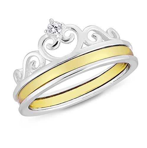 DTPsilver Anello in Argento 925 Placcato in Oro Giallo e Corona Principessa con Zirconia Cubica Rotondi Chiaro/Bianco CZ - Larghezza 9 mm - Misure: 17