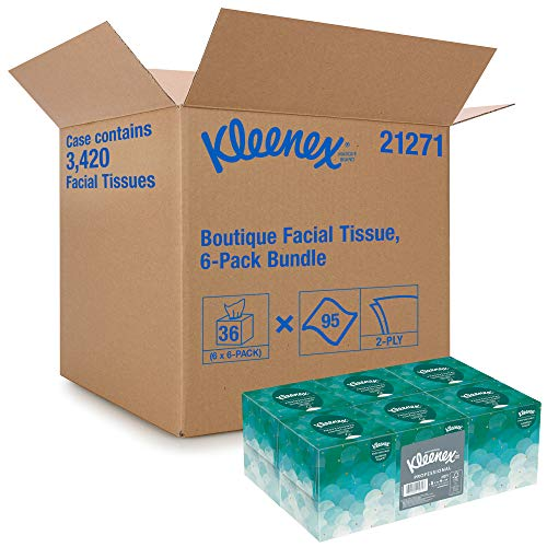 Kleenex Professional Facial Tissue Cube for Business 21271 Upright Face Tissue Box 6 Bundles/Case 6 Boxes/Bundle Pack of 36 Boxes/Case