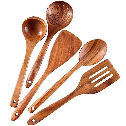 Haudang Juego de utensilios de cocina saludables de madera, utensilios de cocina naturales, antiadherentes, espátula de madera dura, respetuoso con el medio ambiente y seguro para cocineros