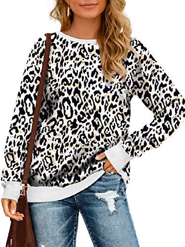 Sweatshirts for Women Long Sleeve Crewneck Leopard Animal Print Tops M