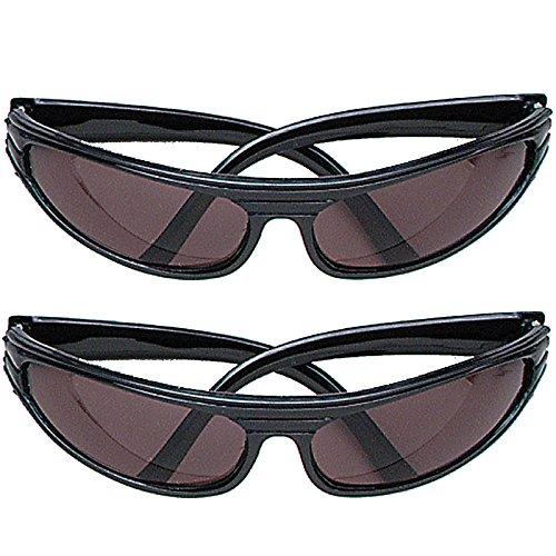 2 x Stylische Brille Punk Komplettbrille für Punker Gangster Vollstrecker Unisex Sonnenbrille