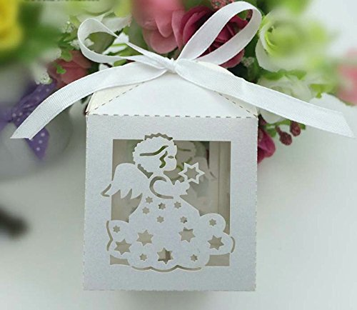 Joinwin New 50PCS Laser Cut White angel Wedding Box in Pearlescent Paper box,party show candy box,party shower gifts,Chocolate Box