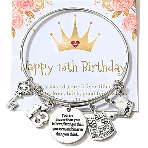 13th Birthday Jewelry Gifts for Her Stainless Steel Expandable Bangle 13 Year Old Charm Bracelets for Daughter Granddaughter
