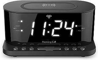"iLuv Morning Call 5 Qi-Certified Wireless Charging Bedside Digital Alarm Clock, 1.2"" Jumbo LED Dual Alarm, FM Radio with 1..."